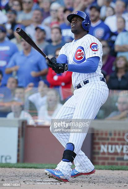 Jorge Soler of the Chicago Cubs bats during the ninth inning against the St Louis Cardinals at Wrigley Field on September 20 2015 in Chicago Illinois...