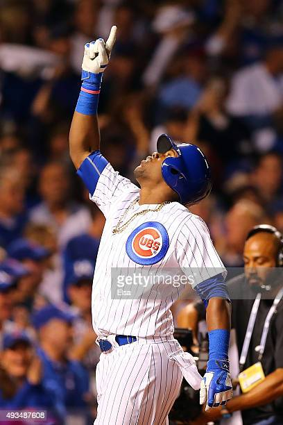 Jorge Soler of the Chicago Cubs celebrates after hitting a solo home run in the fourth inning against Jacob deGrom of the New York Mets during game...