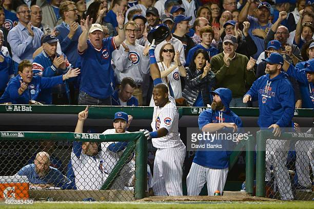 Jorge Soler of the Chicago Cubs celebrates after hitting a tworun home run in the sixth inning against the St Louis Cardinals during game three of...