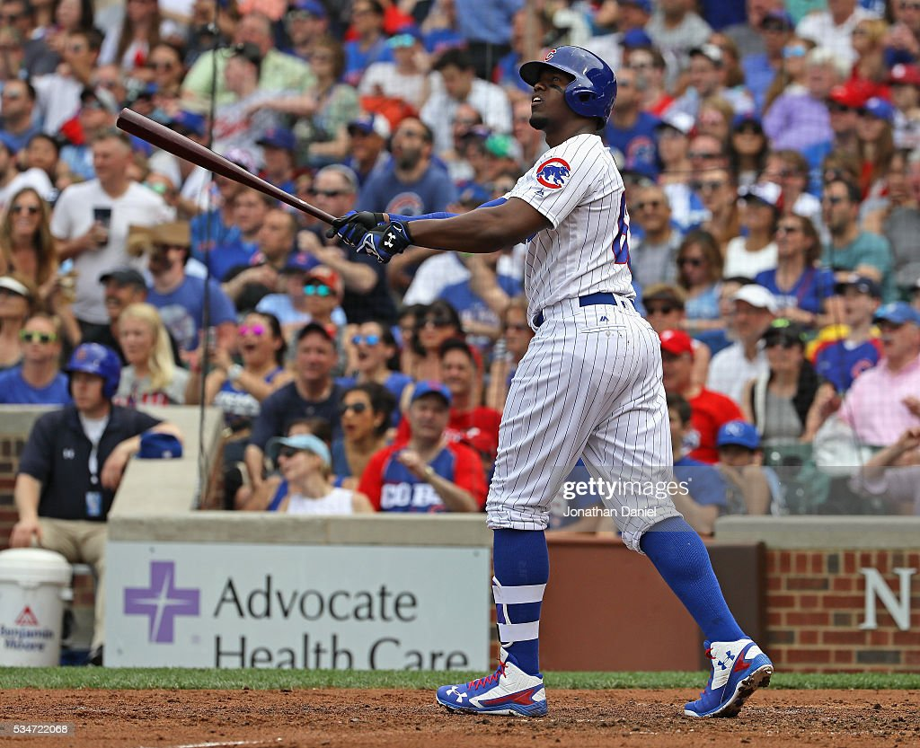 Jorge Soler #68 of the Chicago Cubs follows the flight of his solo home run in the 4th inning against the Philadelphia Phillies at Wrigley Field on May 27, 2016 in Chicago, Illinois.