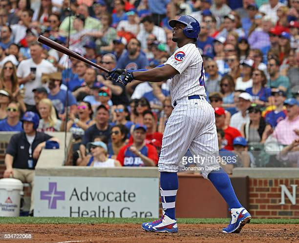 Jorge Soler of the Chicago Cubs follows the flight of his solo home run in the 4th inning against the Philadelphia Phillies at Wrigley Field on May...