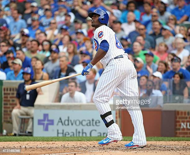 Jorge Soler of the Chicago Cubs follows the flight of his two run home run in the 6th inning against the Kansas City Royals at Wrigley Field on May...