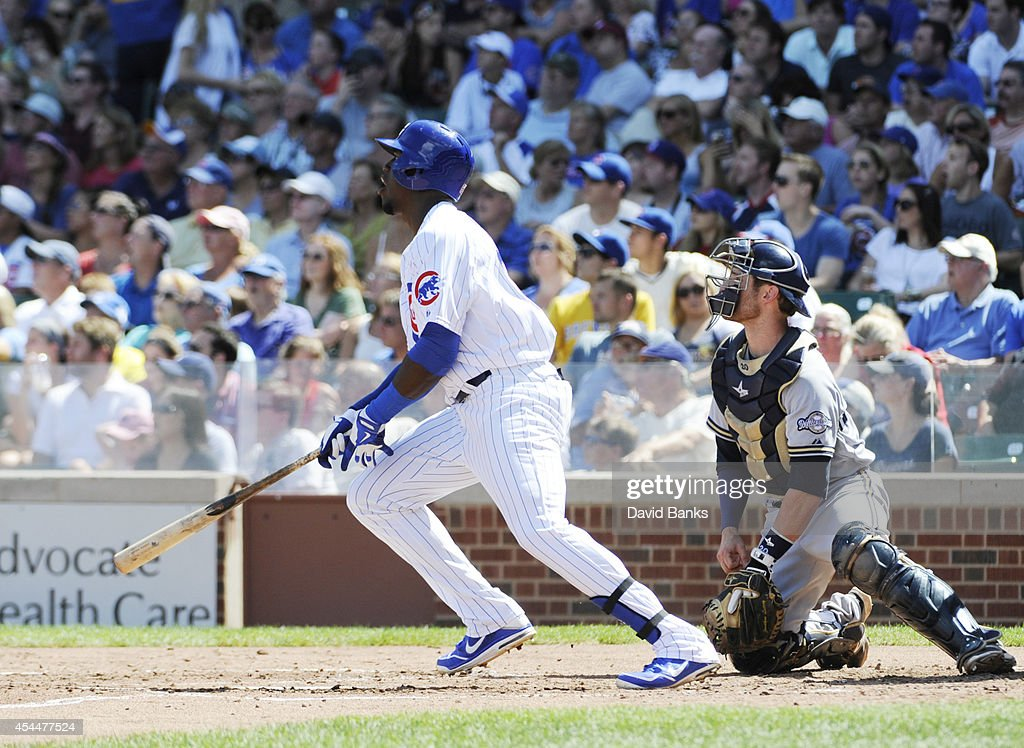 <a gi-track='captionPersonalityLinkClicked' href=/galleries/search?phrase=Jorge+Soler&family=editorial&specificpeople=10527376 ng-click='$event.stopPropagation()'>Jorge Soler</a> #68 of the Chicago Cubs hits a double against the Milwaukee Brewers during the second inning on September 1, 2014 at Wrigley Field in Chicago, Illinois.