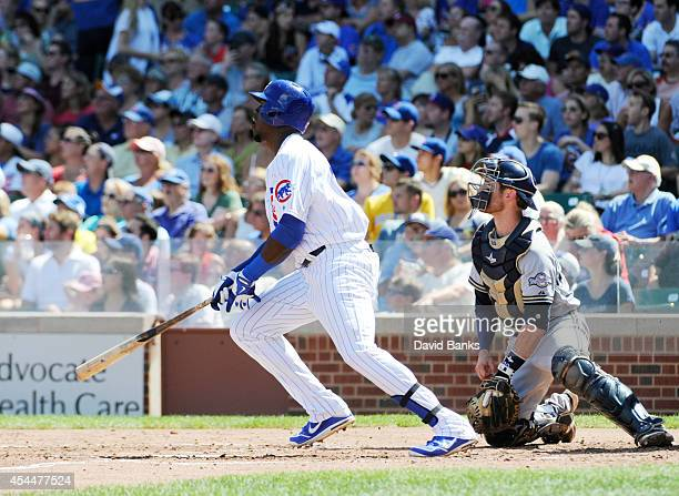 Jorge Soler of the Chicago Cubs hits a double against the Milwaukee Brewers during the second inning on September 1 2014 at Wrigley Field in Chicago...