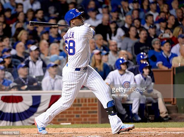 Jorge Soler of the Chicago Cubs hits a home run in the bottom of the fourth inning of Game 3 of the NLCS against the New York Mets at Wrigley Field...