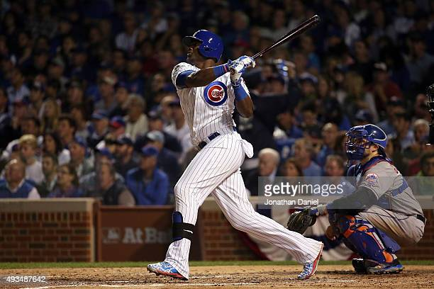 Jorge Soler of the Chicago Cubs hits a solo home run in the fourth inning against Jacob deGrom of the New York Mets during game three of the 2015 MLB...