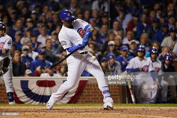 Jorge Soler of the Chicago Cubs hits a triple in the seventh inning against the Cleveland Indians in Game Three of the 2016 World Series at Wrigley...