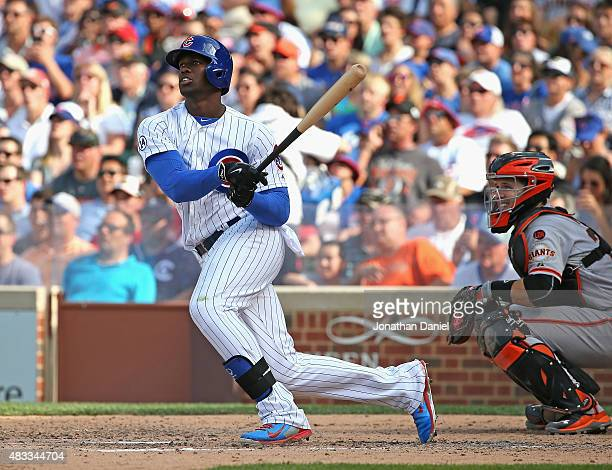 Jorge Soler of the Chicago Cubs hits a tworun double in the 5th inning against the San Francisco Giants at Wrigley Field on August 7 2015 in Chicago...