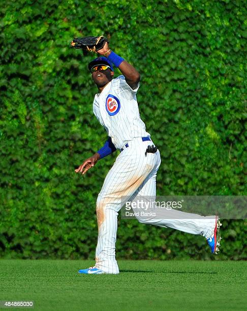 Jorge Soler of the Chicago Cubs makes a catch against the Atlanta Braves on August 21 2015 at Wrigley Field in Chicago Illinois The Cubs won 53