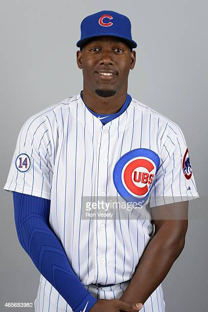 Jorge Soler of the Chicago Cubs poses during Photo Day on Monday March 2 2015 at Sloan Park in Mesa Arizona