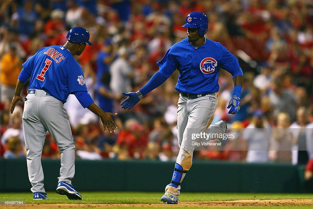 <a gi-track='captionPersonalityLinkClicked' href=/galleries/search?phrase=Jorge+Soler&family=editorial&specificpeople=10527376 ng-click='$event.stopPropagation()'>Jorge Soler</a> #68 of the Chicago Cubs rounds the bases after hitting a two-run home run at Busch Stadium on August 29, 2014 in St. Louis, Missouri. The Cubs beat the Cardinals 7-2.