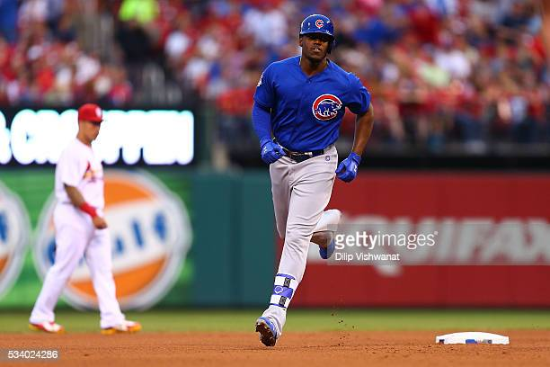 Jorge Soler of the Chicago Cubs rounds the bases after hitting a tworun home run against the St Louis Cardinals in the fifth inning at Busch Stadium...