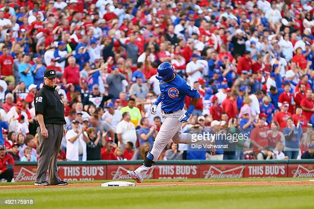 Jorge Soler of the Chicago Cubs runs the bases after hitting a tworun home run in the second inning against the St Louis Cardinals during game two of...