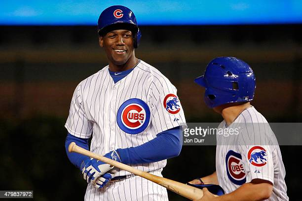 Jorge Soler of the Chicago Cubs smiles after hitting a double against the St Louis Cardinals during the eighth inning during game two of a double...