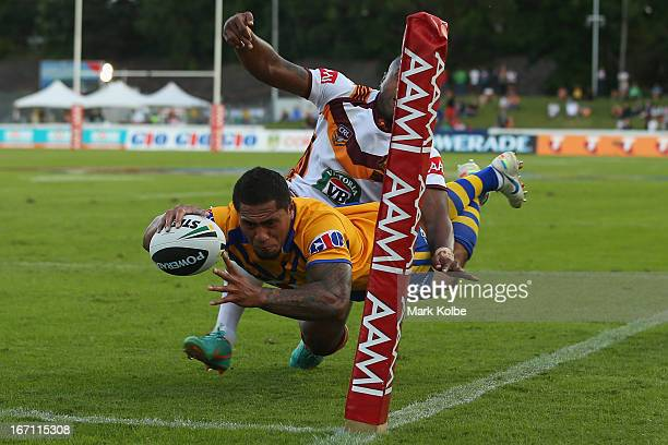 Jorge Taufua of City is tackled into touch by Akuila Uate of Country as he dives for the tryline during the Origin match between City and Country at...