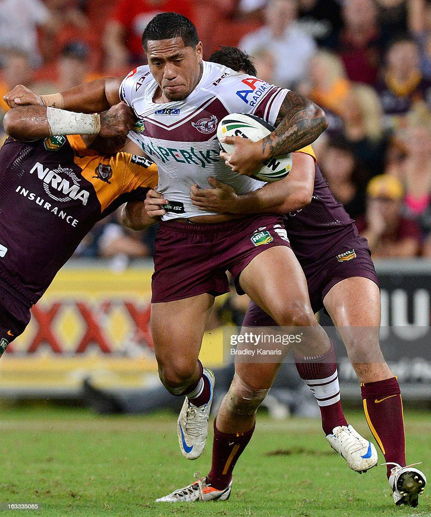 Jorge Taufua of the Sea Eagles attempts to break through the defence during the round one NRL match between the Brisbane Broncos and the Manly Warringah Sea Eagles at Suncorp Stadium on March 8, 2013 in Brisbane, Australia.