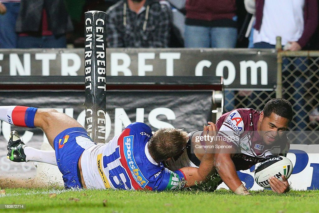Jorge Taufua of the Sea Eagles scores a try during the round two NRL match between the Manly Sea Eagles and the Newcastle Knights at Brookvale Oval on March 17, 2013 in Sydney, Australia.
