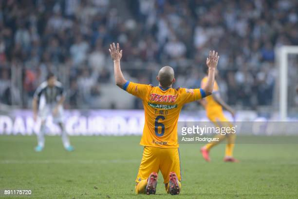 Jorge Torres of Tigres reacts during the second leg of the Torneo Apertura 2017 Liga MX final between Monterrey and Tigres UANL at BBVA Bancomer...