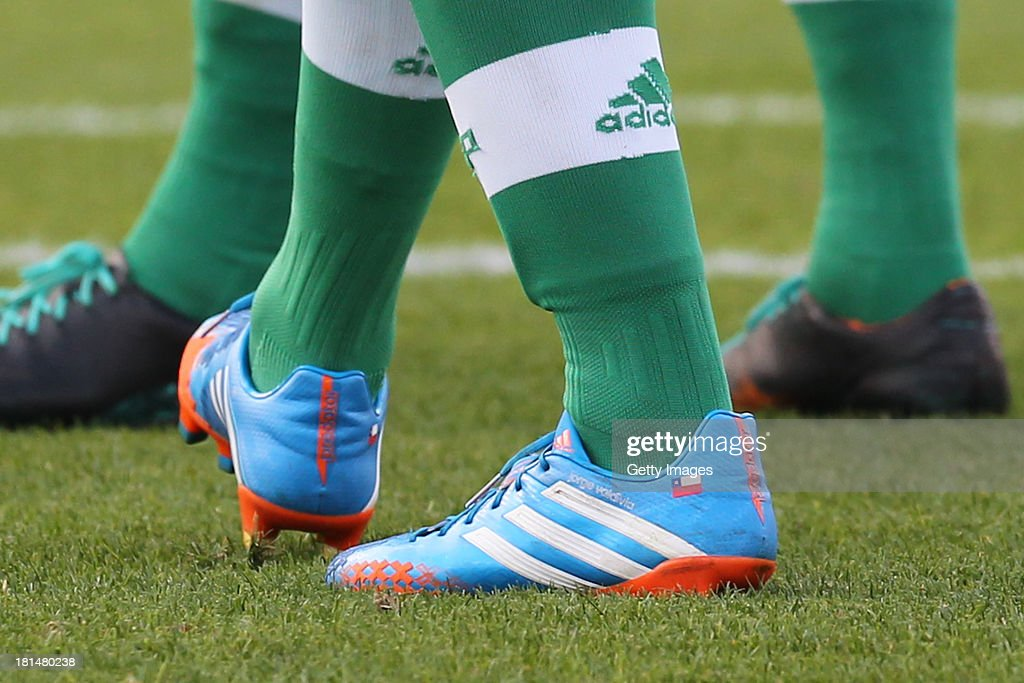 Jorge Valdivia, from Palmeiras, wears his custom ADIDAS shoes during the match between Palmeiras and Sport for the Brazilian Series B 2013 at Pacaembu stadium on September 21, 2013 in Sao Paulo, Brazil.
