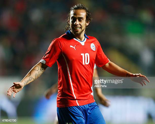 Jorge Valdivia of Chile celebrates after scoring the first goal of his team during a friendly match between Chile and El Salvador at El Teniente de...