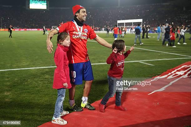 Jorge Valdivia of Chile celebrates after winning the 2015 Copa America Chile Final match between Chile and Argentina at Nacional Stadium on July 04...