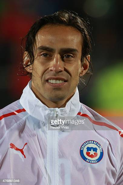 Jorge Valdivia of Chile during the national anthems ceremony prior to the 2015 Copa America Chile Group A match between Chile and Ecuador at Nacional...