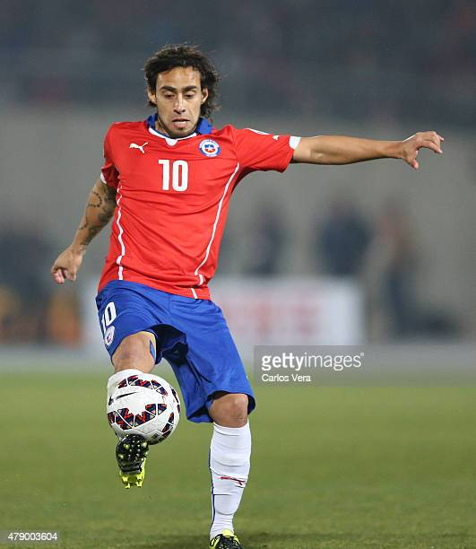 Jorge Valdivia of Chile kicks the ball during the 2015 Copa America Chile Semi Final match between Chile and Peru at Nacional Stadium on June 29 2015...