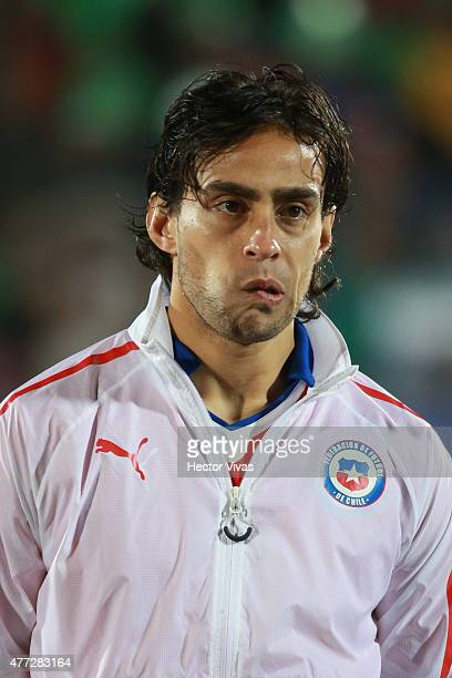 Jorge Valdivia of Chile looks on during the national anthem ceremony prior the 2015 Copa America Chile Group A match between Chile and Mexico at...
