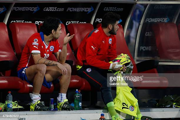 Jorge Valdivia of Chile reacts after being substituted during the 2015 Copa America Chile Final match between Chile and Argentina at Nacional Stadium...