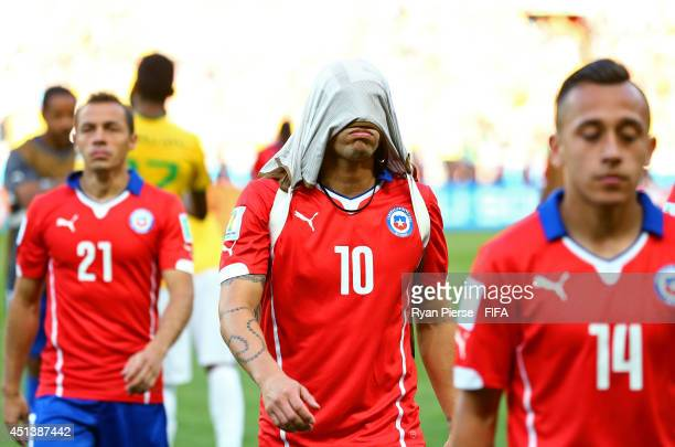 Jorge Valdivia of Chile reacts after the defeat in the 2014 FIFA World Cup Brazil Round of 16 match between Brazil and Chile at Estadio Mineirao on...