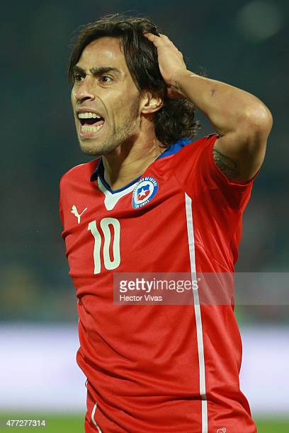 Jorge Valdivia of Chile reacts during the 2015 Copa America Chile Group A match between Chile and Mexico at Nacional Stadium on June 15 2015 in...