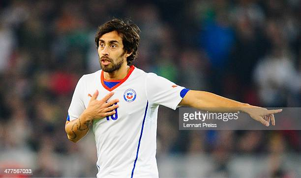 Jorge Valdivia of Chile reacts during the international friendly match between Germany and Chile at MercedesBenz Arena on March 5 2014 in Stuttgart...