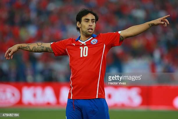 Jorge Valdivia of Chile signals during the 2015 Copa America Chile Final match between Chile and Argentina at Nacional Stadium on July 04 2015 in...
