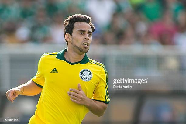 Jorge Valvidia from Palmeiras runs for the ball during the match between Palmeiras and Sao Caetano for the Brazilian Series B 2013 at Pacaembu on...