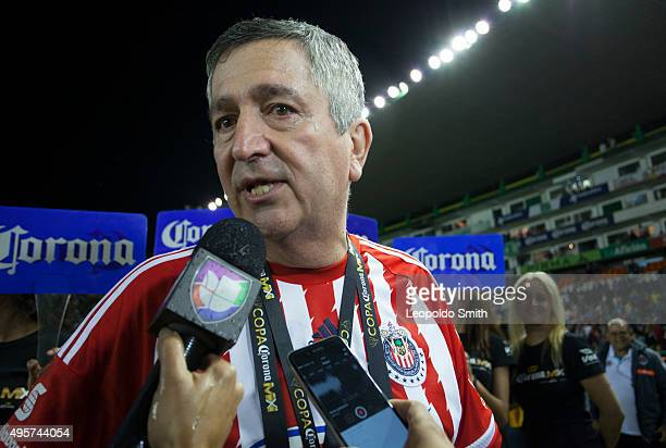 Jorge Vergara owner of Chivas talks to the media after the Final match between Leon and Chivas as part of the Copa MX Apertura 2015 at Leon Stadium...