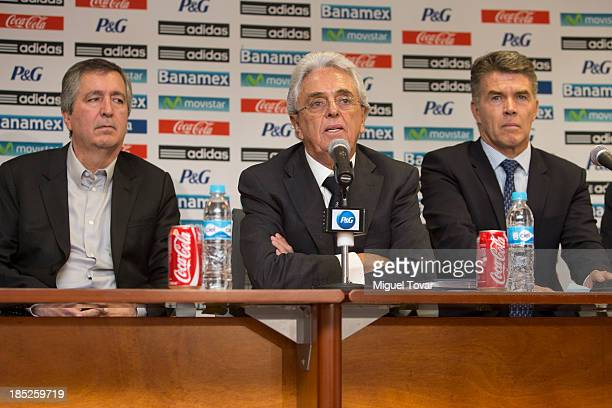 Jorge Vergara president of Chivas Justino Compean president of Mexican soccer federation and Hector I–arritu former director of the national soccer...
