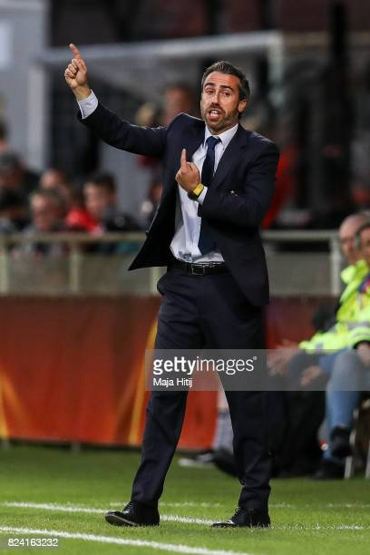 Jorge Vilda head coach of Spain reacts during the Group D match between Scotland and Spain during the UEFA Women's Euro 2017 at Stadion De...