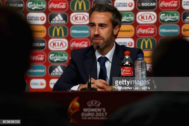 Jorge Vilda head coach of Spain spaks to the media during a press confrence after the Group D match between Scotland and Spain during the UEFA...