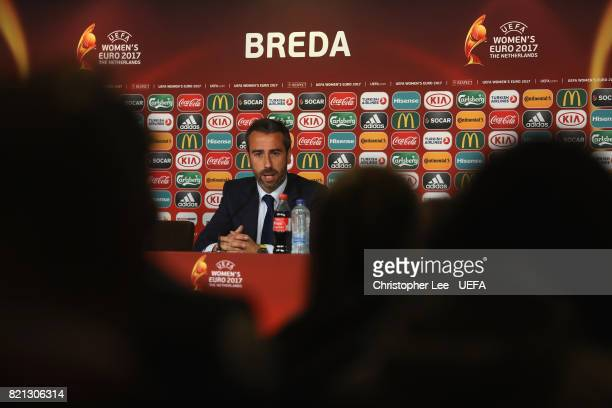 Jorge Vilda head coach of Spain talks to the media in the press conference during the UEFA Women's Euro 2017 Group D match between England and Spain...