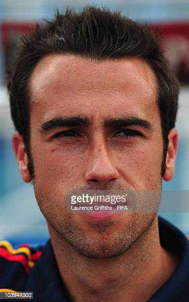 Jorge Vilda of Spain looks on during the FIFA U17 Women's World Cup match between New Zealand and Spain at the Ato Boldon Stadium on September 9 2010...