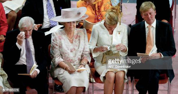 Jorge Zorrequieta Princess Beatrix Princess Maxima and Prince WillemAlexander attend the christening of Princess Amalia in The Hague on June 12 2004...