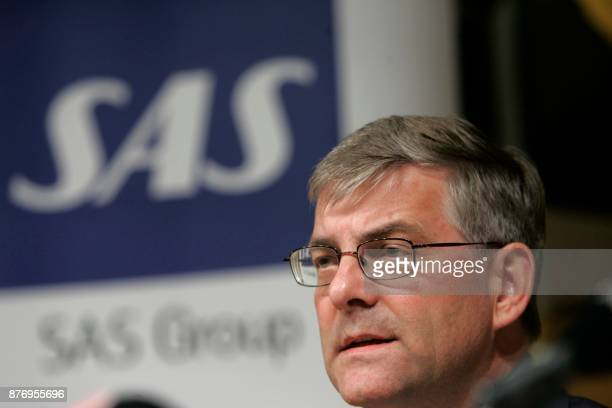 Jorgen Lindegaard Danish CEO of Scandinavian Airlines SAS attends a news conference 16 May 2006 in Stockholm Sweden Lindegaard said he would step...