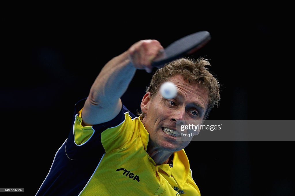 Jorgen Persson of Sweden competes during Men's Team Table Tennis first round match against team of Germany on Day 7 of the London 2012 Olympic Games at ExCeL on August 3, 2012 in London, England.