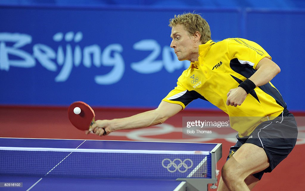 Jorgen Persson Of Sweden Plays A Shot In The Quarter Final Mens Singles Table