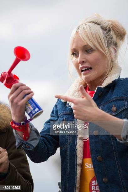 Jorgie Porter appears at the starting line of the Sainsbury's Sport Relief Mile challenge at Queen Elizabeth Olympic Park on March 23 2014 in London...