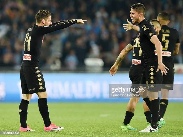 Jorginho and Dries Mertens of SSC Napoli celebrate the 10 goal scored by Dries Mertens during the Serie A match between SSC Napoli and Udinese Calcio...