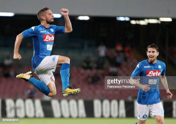 Jorginho and Dries Mertens of SSC Napoli celebrate the 10 goal scored by Dries Mertens during the preseason friendly match between SSC Napoli and...