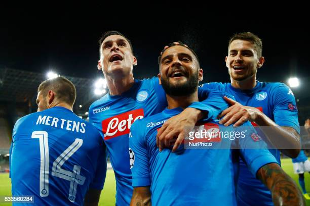 Jorginho Dries Mertens Jose Maria Callejon and Lorenzo Insigne of Napoli celebrating at San Paolo Stadium in Naples Italy on August 16 2017 during...