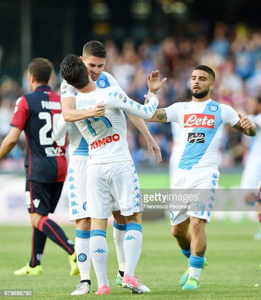 Jorginho Lorenzo Insigne and Dries Mertens of SSC Napoli celebrate the 20 goal scored by Dries Mertens during the Serie A match between SSC Napoli...