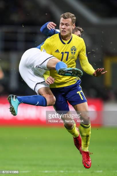 Jorginho of Italy and Viktor Claesson of Sweden during the FIFA 2018 World Cup Qualifier PlayOff Second Leg between Italy and Sweden at San Siro...